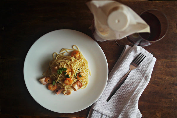 seafood pasta in olive oil