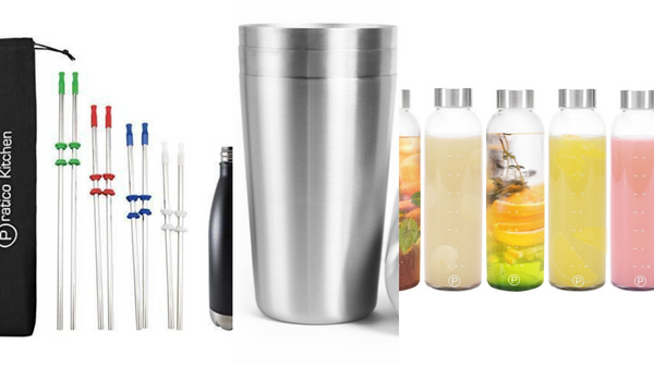stainless steel straws. stainless steel cup, glass bottles