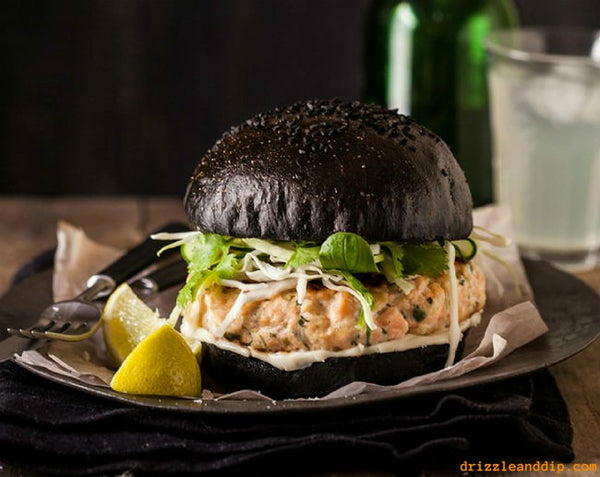Salmon Burger of Black Brioche by Drizzle and Dip