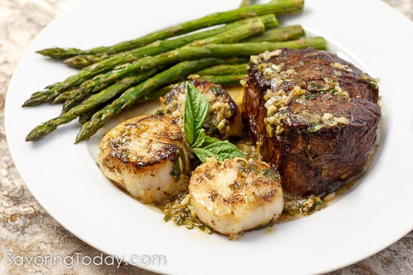 Scampi-Style Steak & Scallops with Roasted Asparagus: Romantic Dinner Recipe for Two