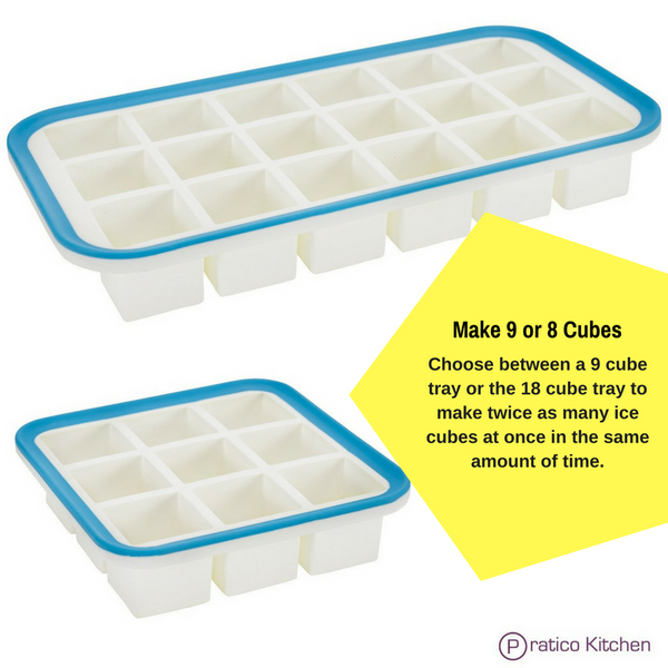 Superb Cube Silicone Ice Cube Tray with EZ-Release & No-Spill Steel Reinforced Rim - 1.4 Inch Cubes