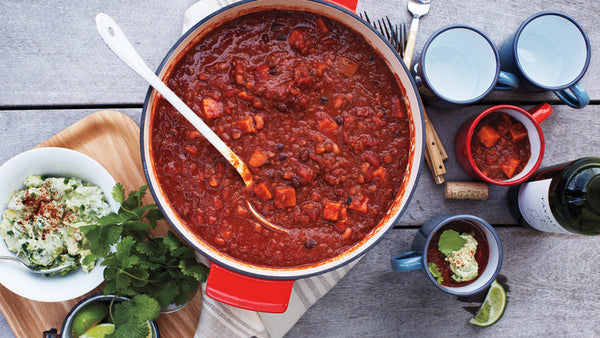 Vegetarian Chili from Avocado Cream from Martha Stewart