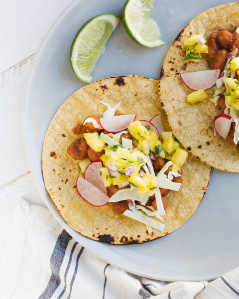 BBQ bean taco with pineapple salsa by A Couple Cooks