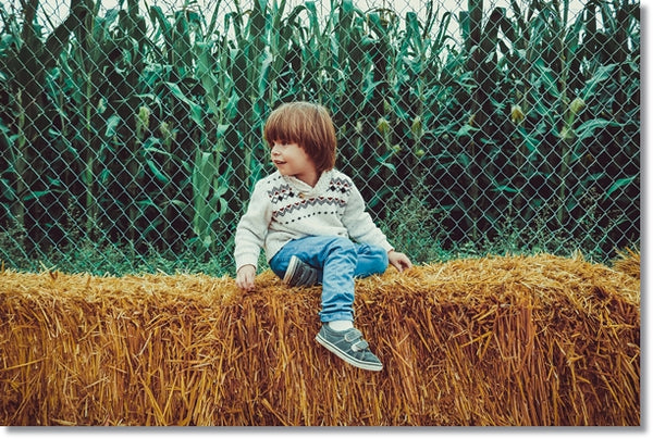 kid sitting on hay