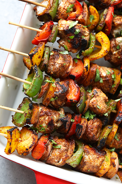 Grilled Chicken Fajita Kebabs
