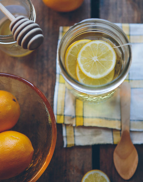 hot water, fresh lemon, and honey