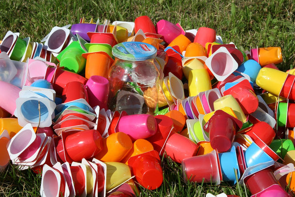 plastic cups on the ground