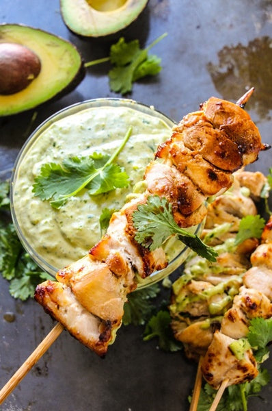 Roasted Garlic Ranch Chicken Kebabs with Avocado Ranch Dip