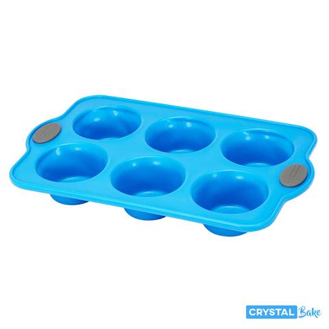 Muffin & Cupcake Silicone Baking Pan - 6 Cup, Blue