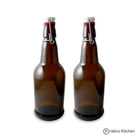 2-pack swing top beer bottles amber