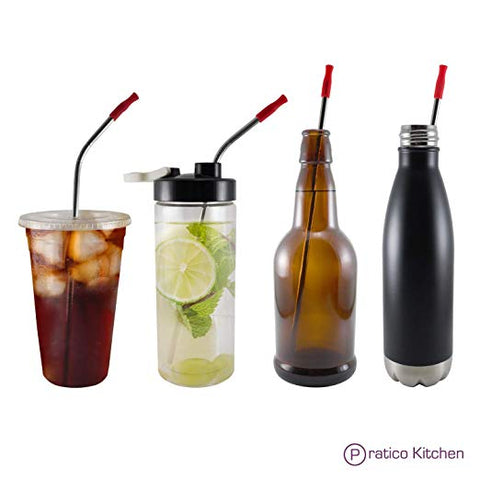 stainless steel straight and curved straw for all bottle types