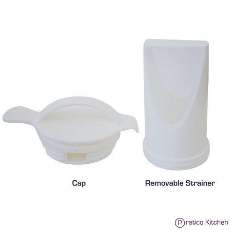 cap and removable strainer parts of low profile pitcher