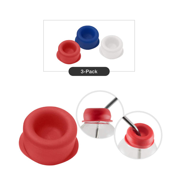 red, blue & white silicone caps with stainless steel straws