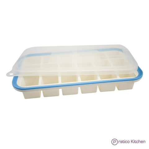 silicone ice tray with lid makes 18 cubes