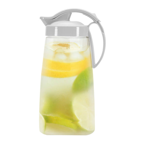 QuickPour Airtight Pitcher with Locking Spout - White