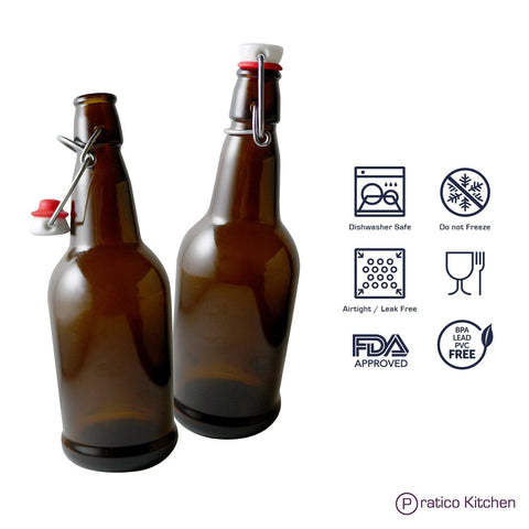 amber-colored swing top beer bottles