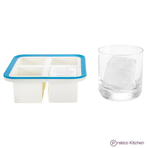 silicone ice cube tray - makes 4 or 8 2-inch cubes