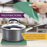 Pratipad PLUS 4-in-1 Multipurpose Silicone Pot Holders - Green Grey