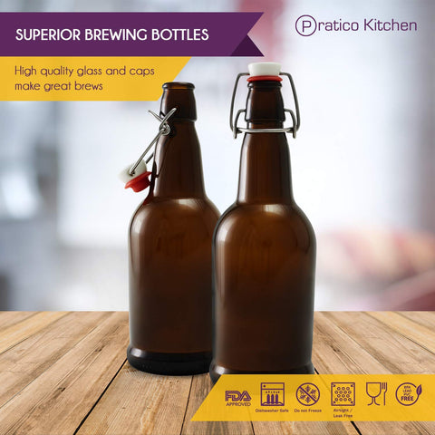 16 oz Swing Top Bottles with Ceramic Cap - 6 Pack, Amber