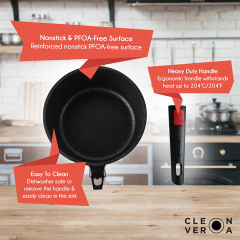 Cleverona Essential Nonstick 3 Quart Sauce Pan with SecureSnap Detachable Handle and Medium Clever Lid
