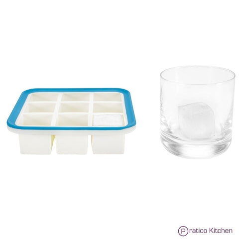 silicone ice cube tray with steel rim