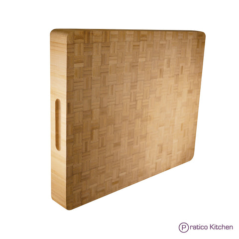 Large Bamboo Reversible Butcher Chopping Block and Serving Tray