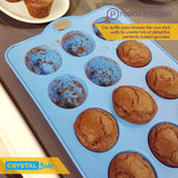 Muffin & Cupcake Silicone Baking Pan - 12 Cup, Blue