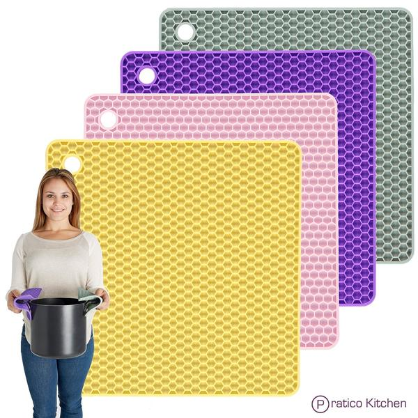 multi-colored silicone pot holders