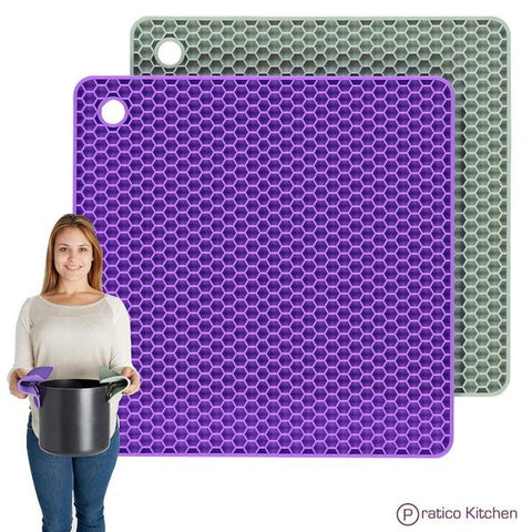 purple & green grey silicone pot holders