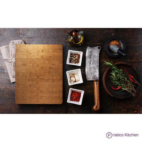 Food preparation with Pratico Kitchen's butcher block chopping board