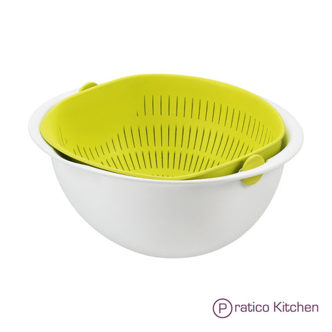 multipurpose 180 degrees rotating colander and mixing bowl
