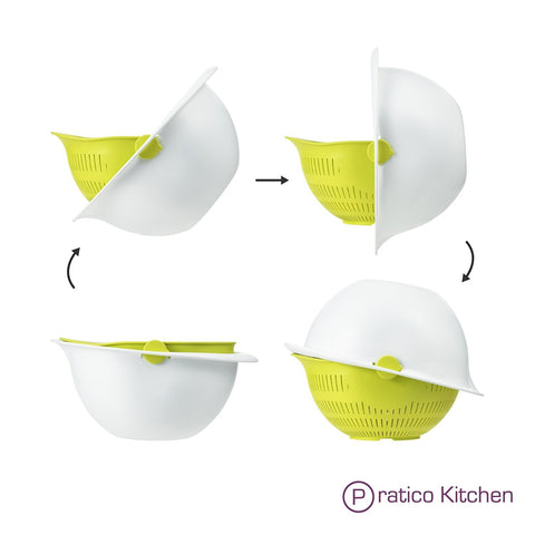 usage cycle of the 180 degrees swivel colander & mixing bowl