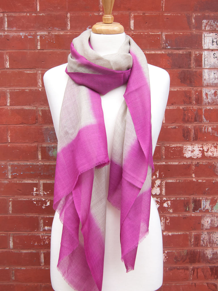 Pink Thin Square Wool Scarf