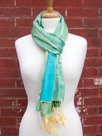 Green-Blue Two Tone Silk Scarf