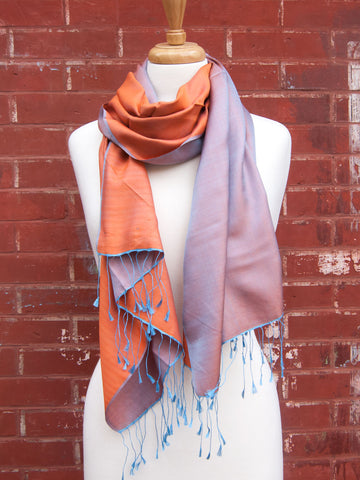 Purple-Red Two Tone Silk Scarf