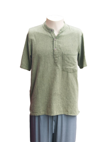 Mens 3 Button Plain Cotton Short-sleeve Shirt