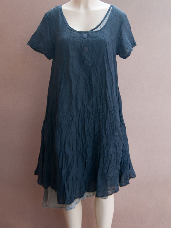 3 Button Wide Cotton Dress