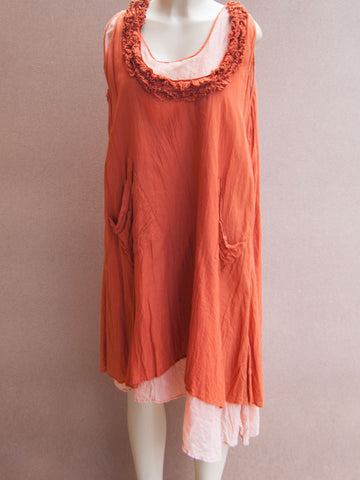 Coral Neck Layered Cotton Dress