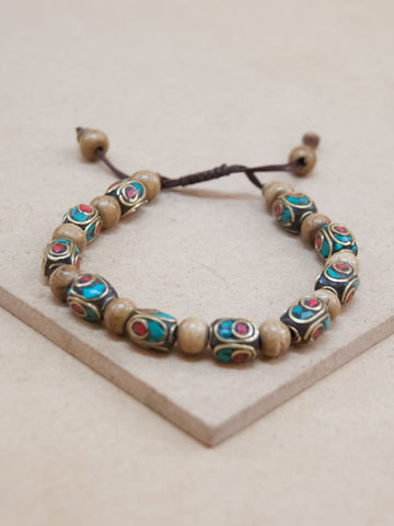 Adjustable Wood bead Mala Bracelet