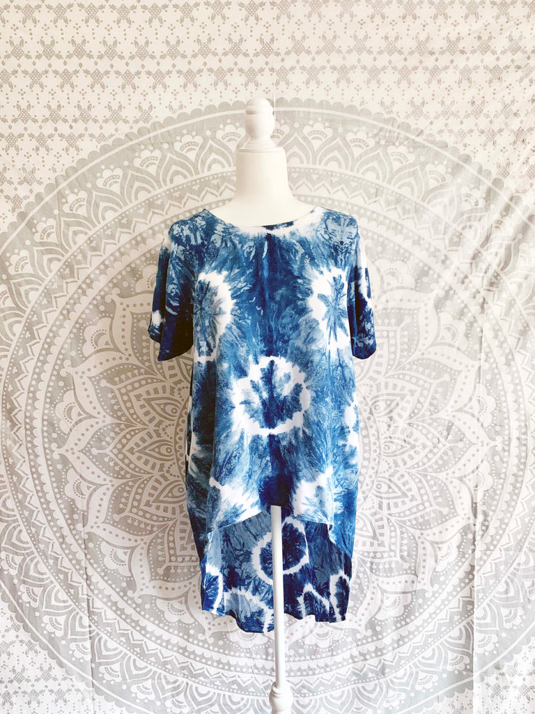 High - Low Tie Dye Rayon Top