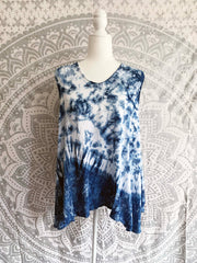 Tie Dye Rayon Sleeveless Top with Back Details