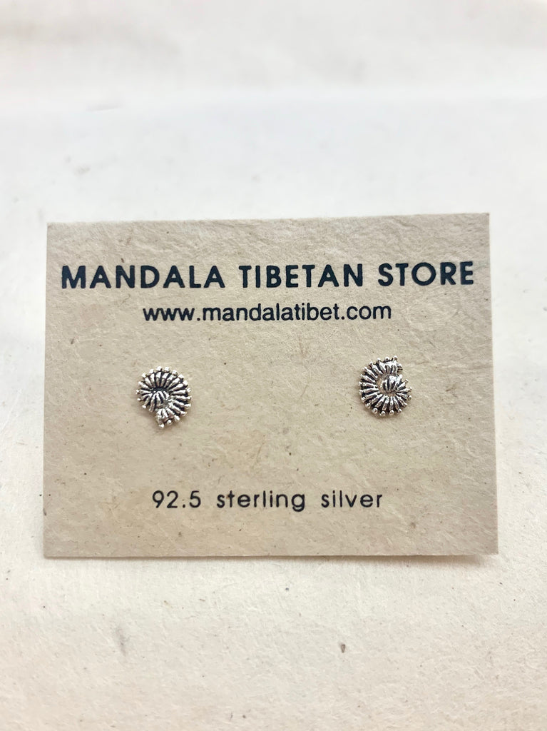 Ammonite Fossil Sterling Silver Studs