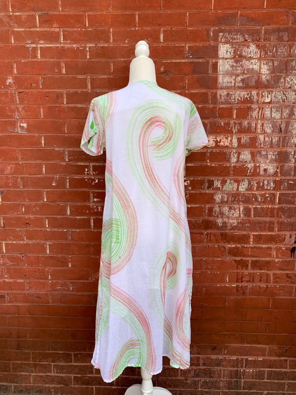 Shirt Sleeve Paint Brush Stroke Cotton Dress