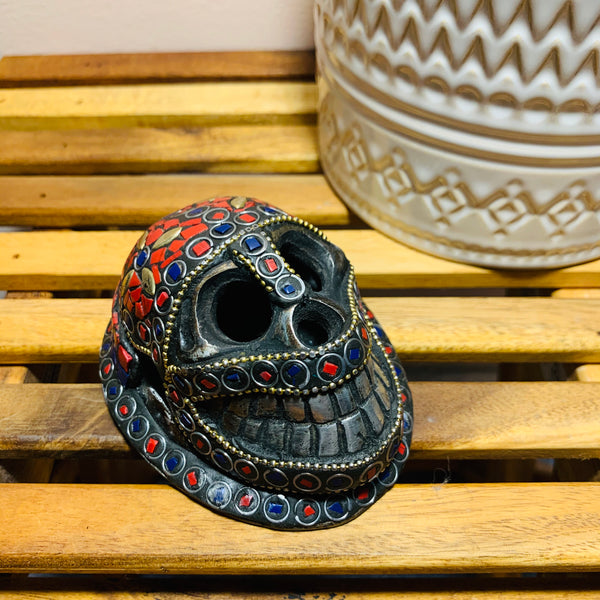 Skull Incense Burner with Stone Inlay