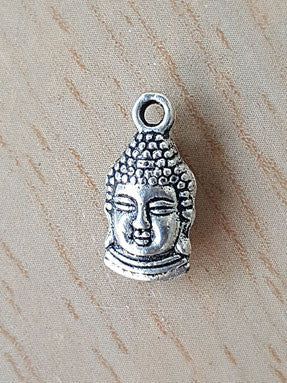 Charm - White Metal Buddha Head Charm