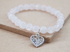 Charmed Mala - Rose Quartz Mala Bracelet With Heart Charm