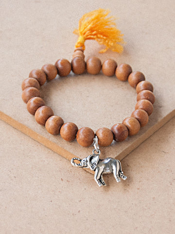Charmed Mala - Sandal Wood Beaded Bracelet With Charm ( Elephant )