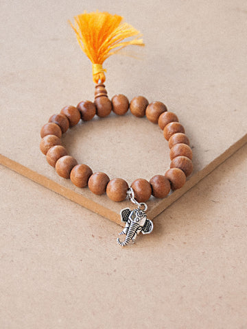 Charmed Mala - Sandal Wood Beaded Bracelet With Charm ( Ganesh )