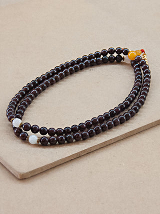 Garnet Mala Bead With Moonstone Spacers