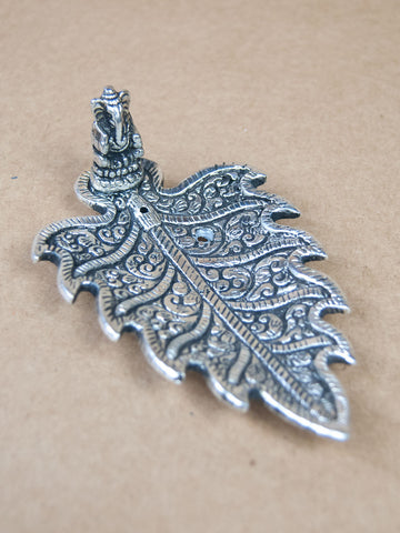 Incense Burner - Leaf Shaped White Metal Incense Burner